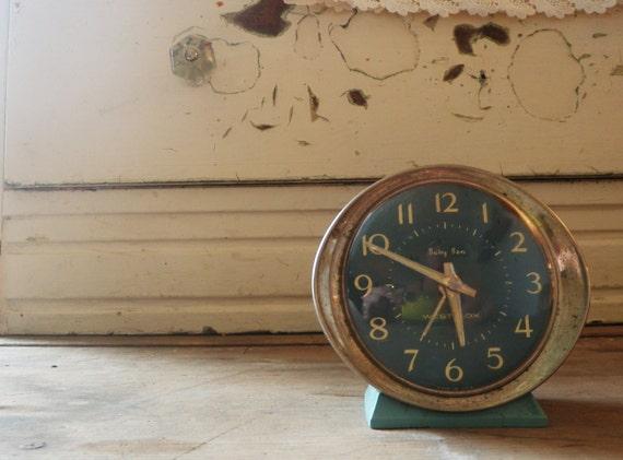 Vintage Baby Ben Alarm Clock Light Blue Metal