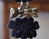 Upcycled Lace Earrings with a Varnished Golden Bow - Recycled and UpCycled -Reduced Price-Free ship w/ other item