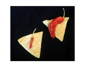 Tortilla chip and chili pepper brooch
