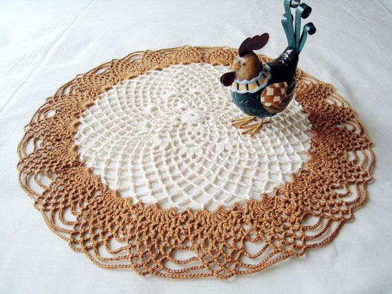 Lace Doily - Brown Crochet  Doily Pineapple Table Decor / Bridal Shower Gifts