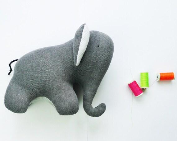 Grey elephant - soft toy made of upcycled Petit Bateau fabrics -