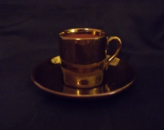 Gold Glazed Mini Teacup and Saucer