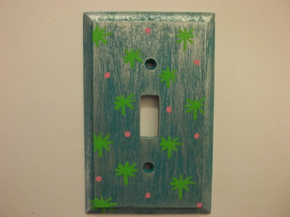 "Hand Painted ""Gracie"" Oak Single Switchplate FREE SHIPPING"