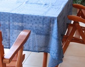 Tablecloth Blue ,home decor ,Square size ,cotton,eco friendly