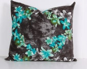 Pillow cover,Decorative pillow, throw pillow ,Turquoise, Gray ,velvet ,with flowers