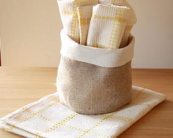 Tea Towel, Tea towels and basket, dish towel,Yellow ,Kitchen Eco friendly ,cotton