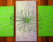 FREE SHIPPING WORLDWIDE, Funky Daisy, Set of 3, green, black & silver, Original modern abstract canvas painting Dees Funky Art