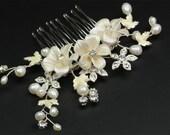 Ivory Porcelain Flower, Metal Flower, Rhinestone and Fresh Water Pearl Comb