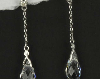 Sterling Silver, Clear Faceted Briolette Swarovski Crystal drop Earrings