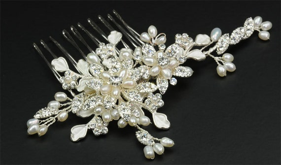 Bridal Comb Accents with Metal Leaves, Rhinestone, Crystal, Fresh Water Pearl