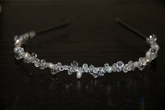 Swarovski Crystal& Fresh Water Pearl  Bridal Headband Tiara