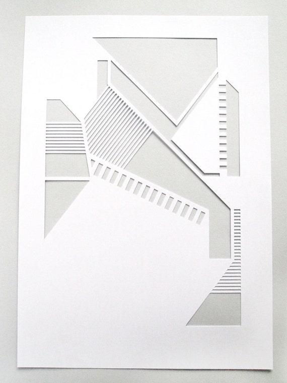 White geometric A4 papercut