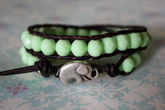 Opaque Mint Green Elephant Leather Beaded Wrap Bracelet 2x