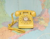 Yellow Vintage Rotary Phone - Good Working Condition