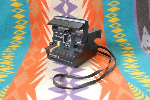 Vintage Polaroid One Step Camera - Black and Rainbow