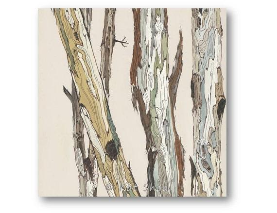 Items similar to white tree art 24x24 giclee trunks bark for Tree trunk wall art