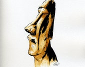 Easter Island - 002 - Print / Hand Watercolored