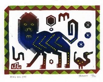 Peru Big Cat Linocut Hand Pulled Original Relief Print Edition of 30