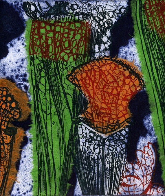 Carnivorous 2 Etching, Collograph & Chine Cole Hand Pulled Original Print Limited Edition of 5