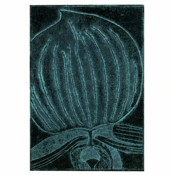 50% DISCOUNT SALE - now 6.23 GBP - Blue Black Orchid Collograph Hand Pulled Original Print