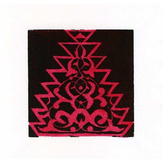 Alhambra II Linocut Hand Pulled Original Relief Print Edition of 30