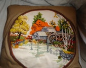 Vintage Crewel Embroidered pillow with ticking water wheel OOAK