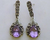 Sterling, Amethyst, and Marcasite Earrings