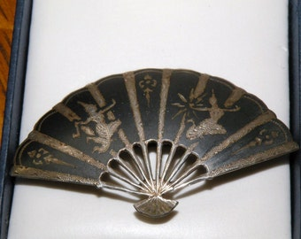 Sterling Silver Oriental Siam Fan Shaped Brooch