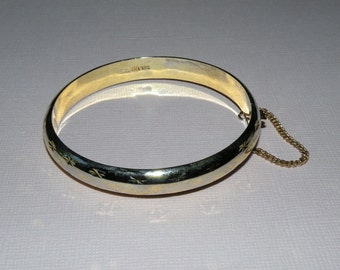 Sterling Silver Hinged Bracelet with Classic Design