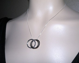 ETERNITY Sterling Silver Three Ring Necklace represent Past Present and Future