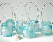Mini Mason Jar Light Set Of 6 Lantern Vase Blue Beach Wedding Hanging Lantern