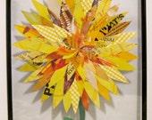Flower Collage, Magzine Paper, 8x10 Framed Yellow Dahlia