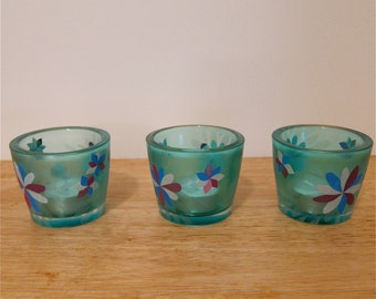 Blue Glass Tea Light Candle Holders, Decoupage Collage Flowers, Set of Three