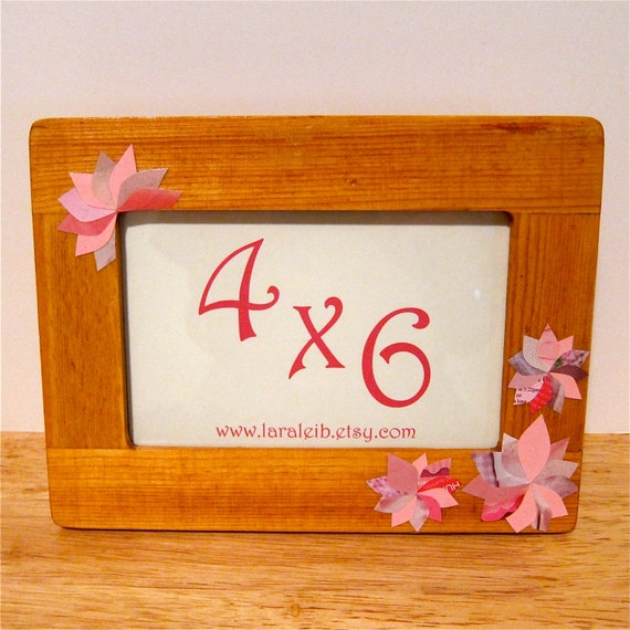 Flower Collage Picture Frame, 4x6 Pink Decoupage