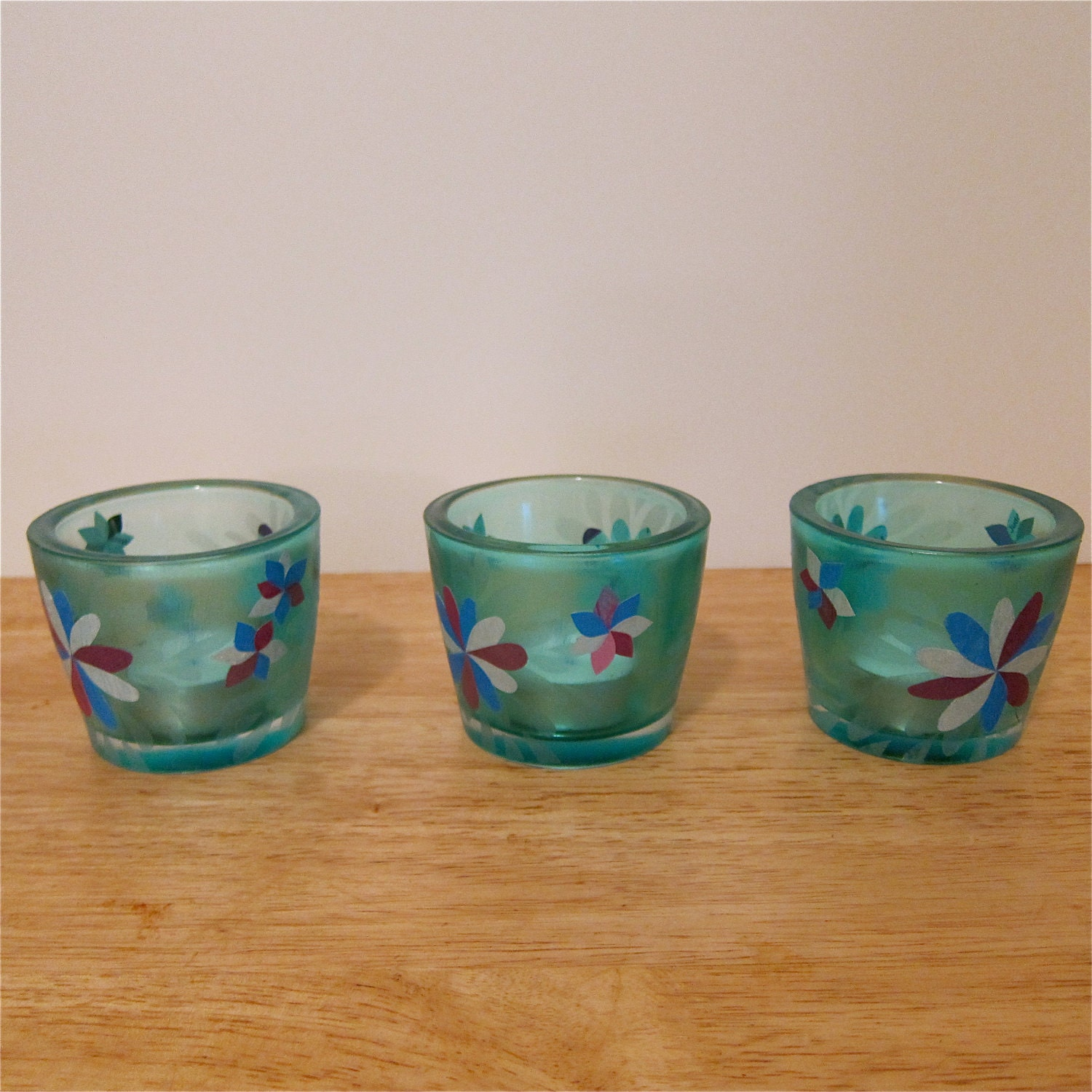 Blue Glass Tea Light Candle Holders Decoupage Collage