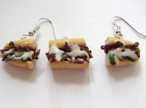 Philly Cheese Steak Sandwich Earrings and Charm (Set)