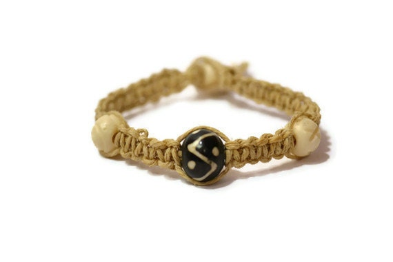 Tan Hemp Wish Bracelet/Anklet - Black and White Beads - Macrame