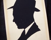 Silhouette, Vintage Framed Paper-Cut Silhouette of Handsome Man in Hat, 1940s-1950s