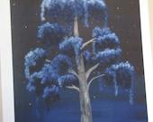 Blue Surreal 'Goodnight' Tree 11x14 print