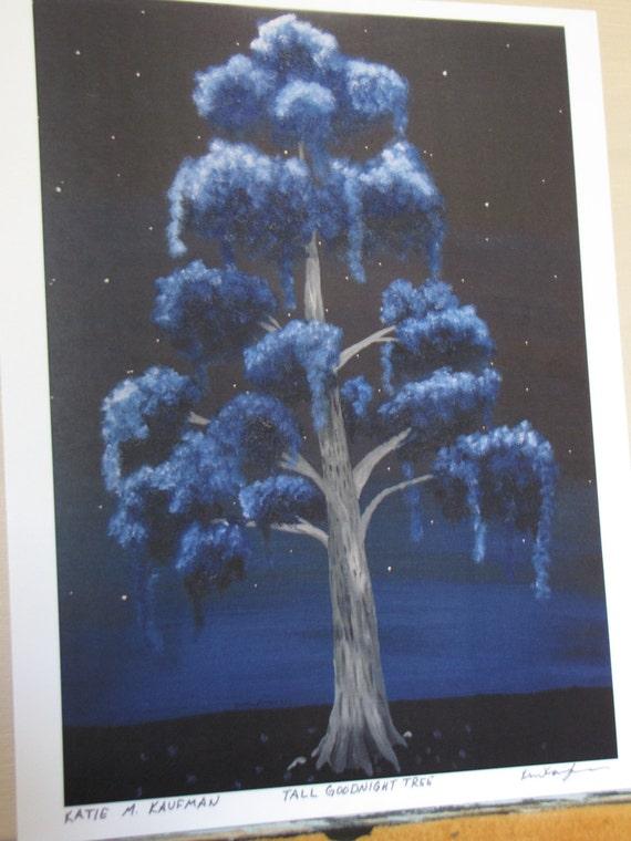Blue Surreal 'Goodnight' Tree 8x10 print