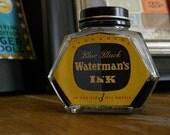 Vintage Waterman's Ink Bottle Blue Black Collectible