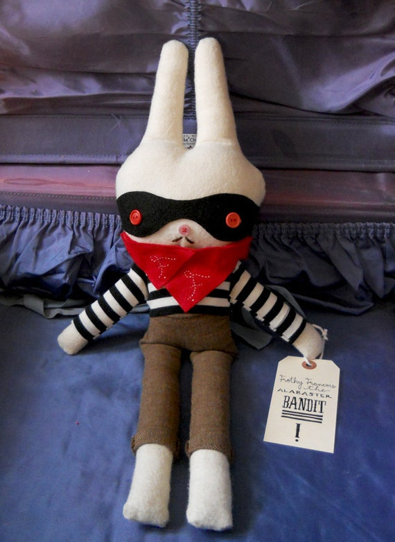 Francois White Rabbit Plush Woodland Animal Art Doll Bandit Albino OOAK Softie