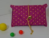 Book Cover, Book Protector, Paperback Book Cover in Pink with Yellow Polka Dots, Golden Button and Twist Cord- Perfect Gift for Book Lovers