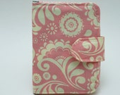 Passport case with zippered wallet, ID window and credit card pockets - Pink and White Print