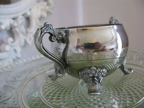 RESERVED for Cynthia... Silver Sugar Bowl Vintage Flowers Rococo Ornate Tea Shower Wedding