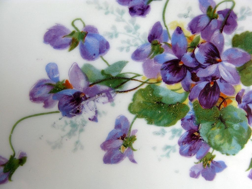 Vintage Violets China Cake Plate Purple