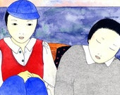 Two Japanese Boys in a Boat - Goro chan and Joji chan - Archival Digital Print - Signed