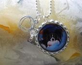 Custom Personalized with Love Bottlecap Pendant Necklace Set