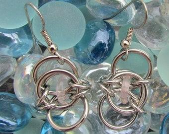 Chain Maille Earrings, Glass Earrings, Pink Earrings, Glass Jewelry, Jump Ring Jewelry