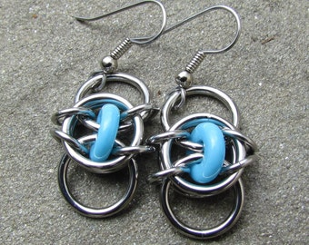 Turquoise Earrings, Chain Maille Earrings, Stainless Steel and Turquoise Glass Earrings, Glass Jewelry
